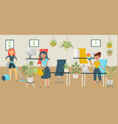 Group character office cleaning services woman vector