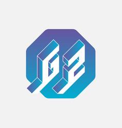 Gz or g2 - monogram or logotype volume alphabet vector