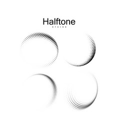 Halftone 3d curved shapes set vector