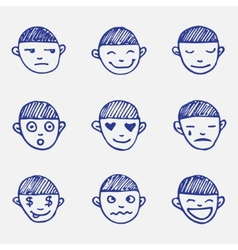 hand drawn doodle emoticons set Boys head emotions vector image