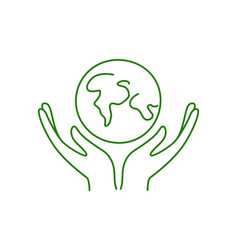 hands holding planet earth no plastic go green vector image