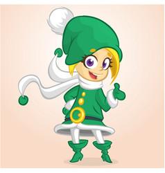 Happy cartoon smiling blonde girl elf vector