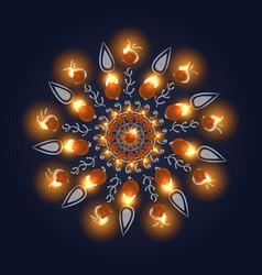 Happy diwali background burning candle on dark vector