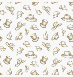 Hats seamless background pattern hand vector