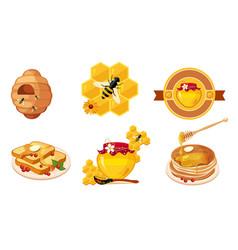 honey and beekeeping elements set beehive vector image