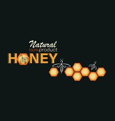 Honeycomb swarm bees honey background emblem vector