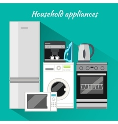 Household Appliances Flat Design vector image