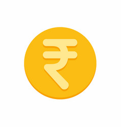 indian rupees currency symbol on gold coin vector image
