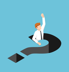 isometric businessman falling into question mark vector image