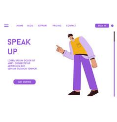 Landing page speak up concept vector