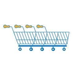 line of shopping carts icon vector image
