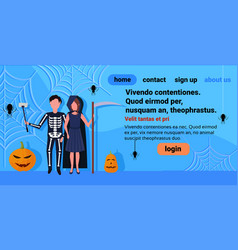 man woman couple skeleton grim reaper costumes vector image