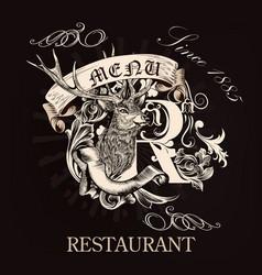 Menu design for restaurant in royal style vector