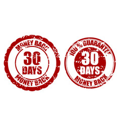 money back guarantee 30 days rubber stamp vector image