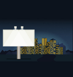 Night cityscape background with buildings sky vector