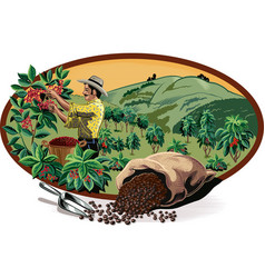 Oval frame with bags of coffee vector