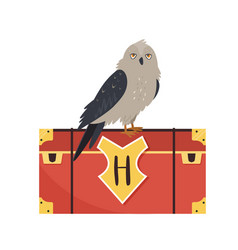 Owl sitting on a trunk cute animal design vector