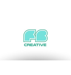 Pastel green alphabet letter fb f b combination vector