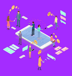 people connecting devices concept ad 3d isometric vector image