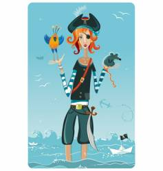 Pirate girl vector