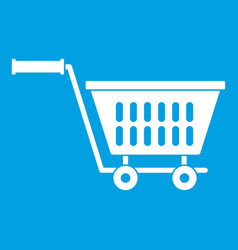 Plastic shopping trolley icon white vector