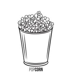 Popcorn striped bowl icon vector