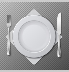 realistic plate cutlery table setting vector image