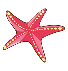 Red starfish on white background vector