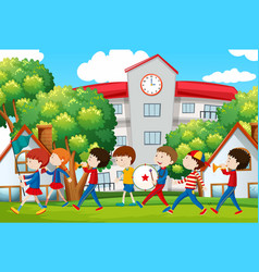 School band marching in front of school vector
