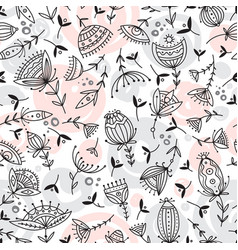 seamless floral pattern in tribal boho ornament vector image
