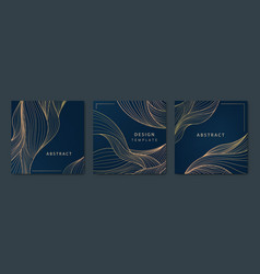 set abstract luxury golden square cards vector image