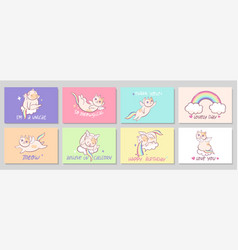 set eight cards with cats unicorns vector image