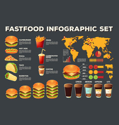 Set of fast food infographic elements vector
