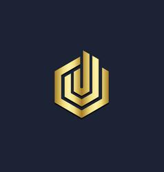 shape line polygon gold logo vector image