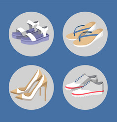 Shoe collection summer mode vector