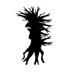 Silhouette a strange creature is like a baba yaga vector