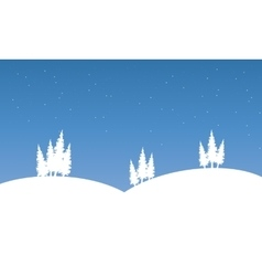 Silhouette of hill on winter scenery vector image