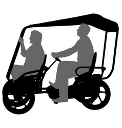 silhouette of two athletes on tandem bicycle on vector image