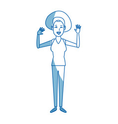 Standing woman cartoon person gesturing image vector