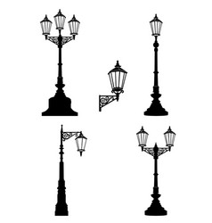 street lamp set street lights city retro vector image