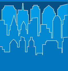 stylish blue modern city silhouette in line art vector image