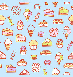 Super cute desserts pattern vector