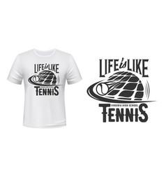tennis sport school t-shirt print mockup vector image