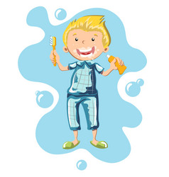 the boy in pajamas brushing his teeth vector image