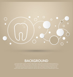 Tooth icon on a brown background with elegant vector