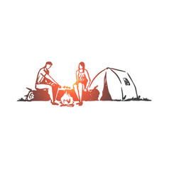 tourists tent fire camp nature concept hand vector image