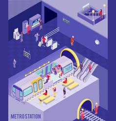 underground isometric poster vector image