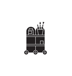 waiter trolley black concept icon waiter vector image