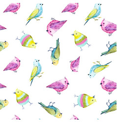 Watercolor bird pattern vector