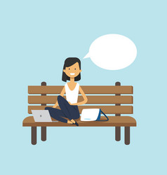 woman using laptop sitting wooden bench chat vector image
